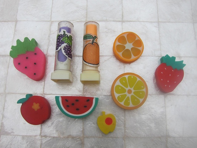 80's fruit erasers