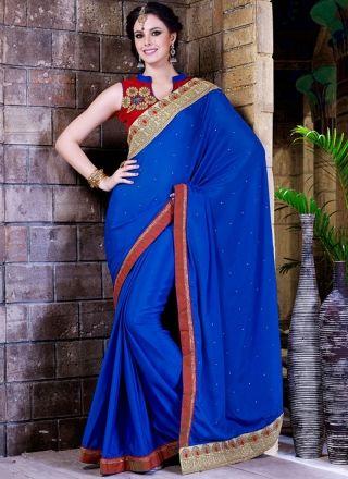 Captivating Royal Blue Designer Party Wear Saree http://www.angelnx.com/Sarees