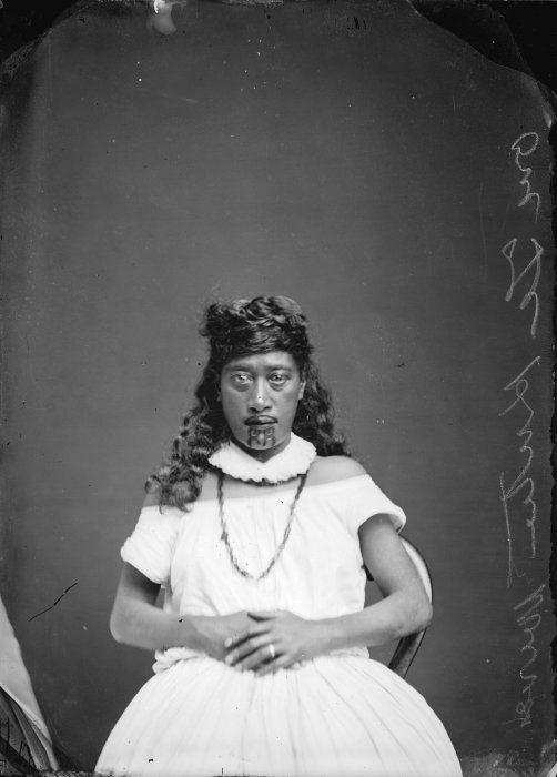 "Wife of Te Kooti, referred to on the negative as "" one of Te Kuti's wives"", taken probably in the 1870s, by Samuel Carnell of Napier."