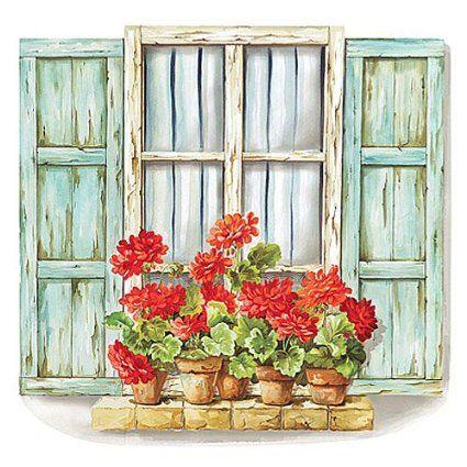 Wallies 15216 Geranium Window Wallpaper Mural, 2-Sheet