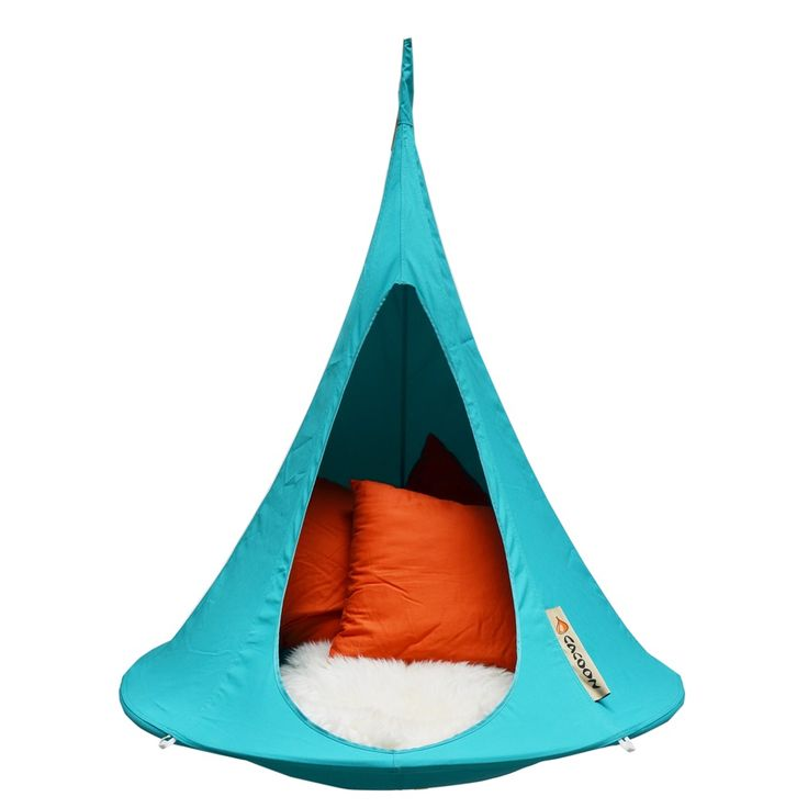 "The Bonsai Cacoon in Turquoise Blue is the smallest Hang-In-Out in the range and is a unique gift for kids. The Bonsai Cacoon is ideal for a child's bedroom or simply the best addition to any sturdy tree branch!  Somewhere the kids will be happy to ""Hang Out"" in for hours. It will be your kids swing chair; hammock; your hanging garden seat; it's whatever you want it to be, where ever you want it to be inside or out. It's for after that hard day at school, or somewhere fun to chill out with…"