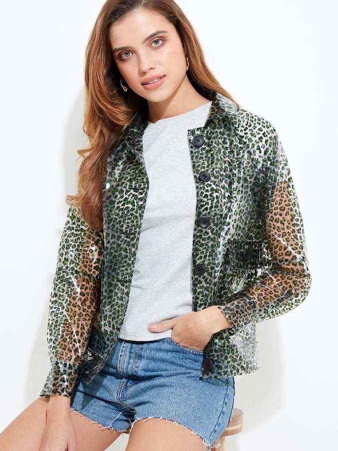 da08d7809b Shein Green Leopard Clear Rain Mac in 2019 | Products | Rain mac ...