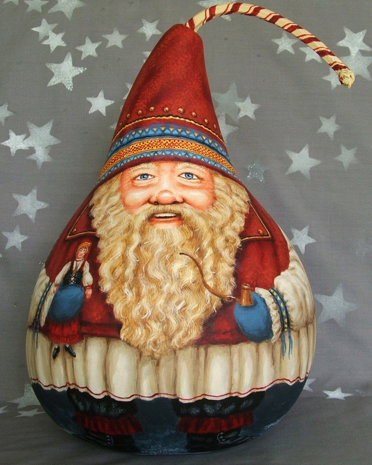 Christmas: Joulupukki, Finnish Santa, Lapland, Finland, original hand painted gourd by Suzy Meelhuysen