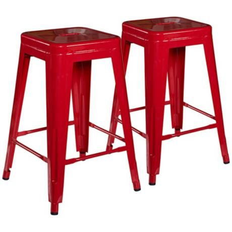 Set Of 2 Square Metal 24 Quot Red Counter Stool Noe Valley