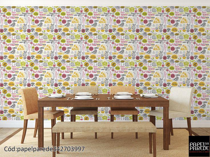 Papel de parede para sala. Toda sala de jantar deve receber uma decoração moderna e com muito bom gosto, com traços marcantes e com personalidade.  O papel de parede deve ser aplicado com cautela, se ele tiver um desenho marcante, é bom decorar o espaço da sua sala com harmonia de cores e o papel de parede ficar apenas como elemento decorativo contrastando com outros objetos de decoração.
