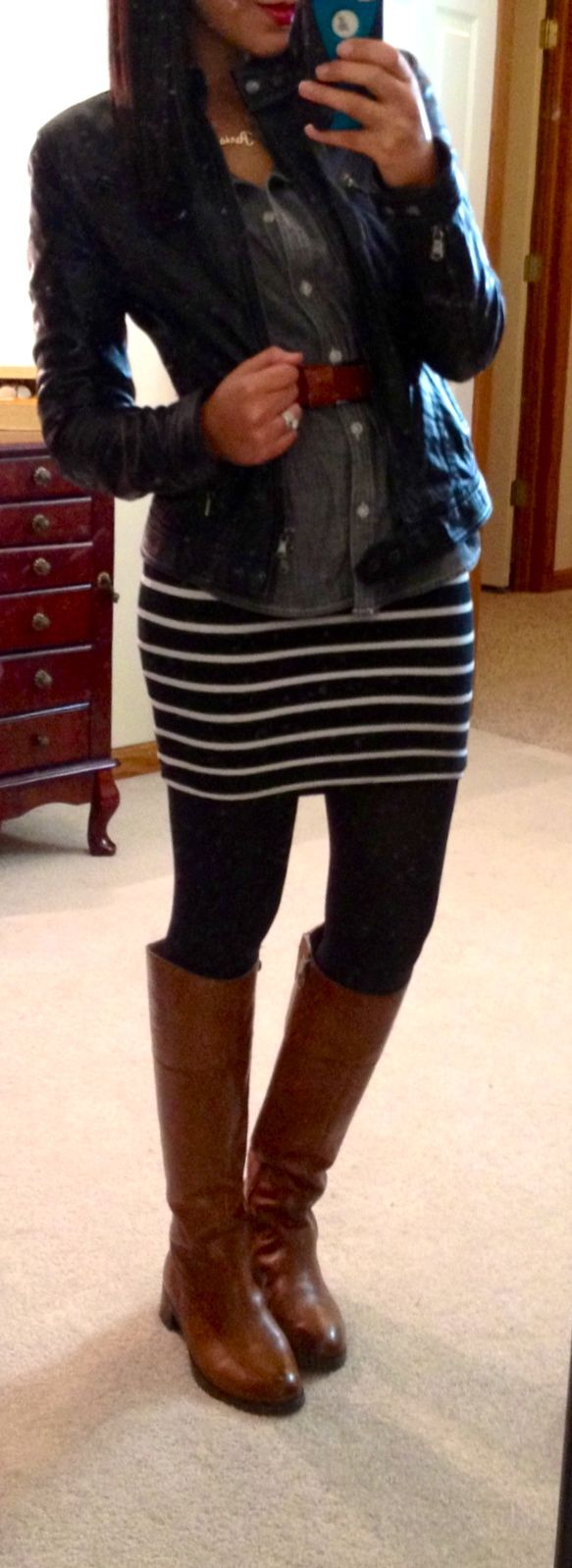 belted chambray shirt over striped dress, leather jacket, tights & riding boots