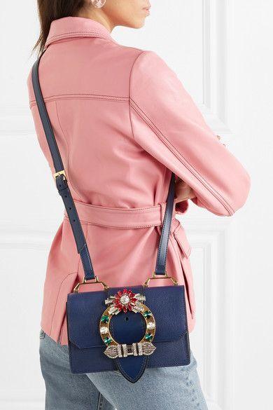 d6be84b113f0 Miu Miu - Miu Lady Embellished Smooth And Textured-leather Shoulder Bag -  Navy