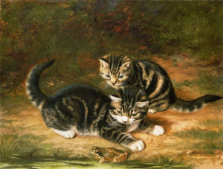 Dos Gatitos que juegan Horatio Henry Couldrey gatos Private Collection en el arte