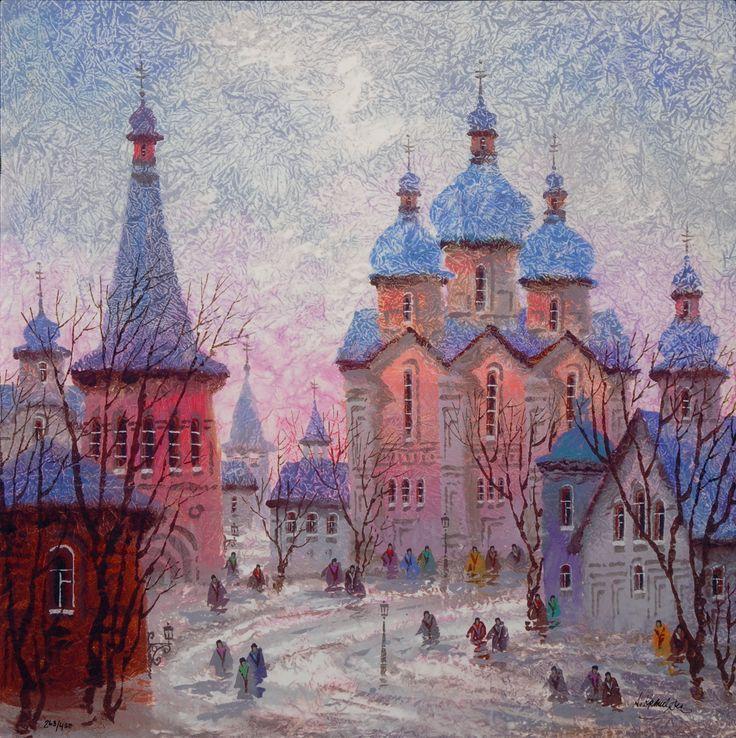 """Russia Red Sunset"" (2016), Anatole Krasnyansky, Park West Gallery Winter Art"