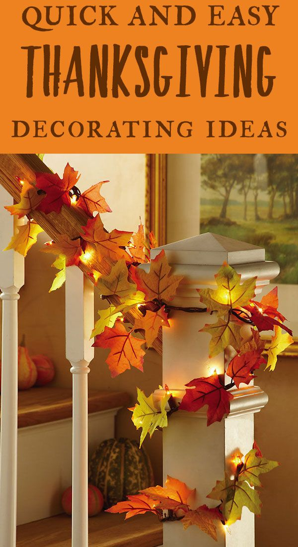 Decorate your home for Thanksgiving with these easy ideas for centerpieces, Thanksgiving craft projects, wreaths and more.