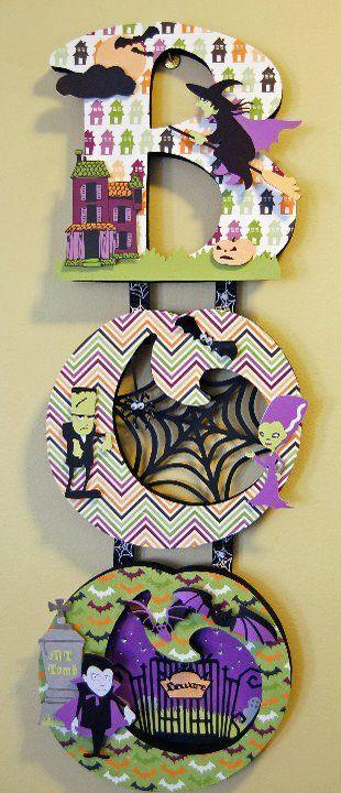 BOO Halloween decor with cricut ... use as Halloween card design? …