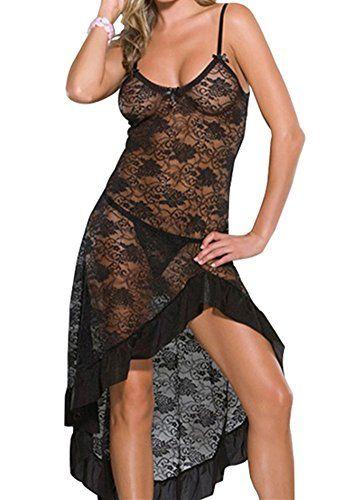 Modes Plus Size Womens Sexy See Through Lace Lingerie Gown Maxi Long Dress Set L-009-BK-6XL