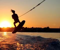 wakeboarding!....i mean i'm not that good but it's still fun to watch and attempt :)