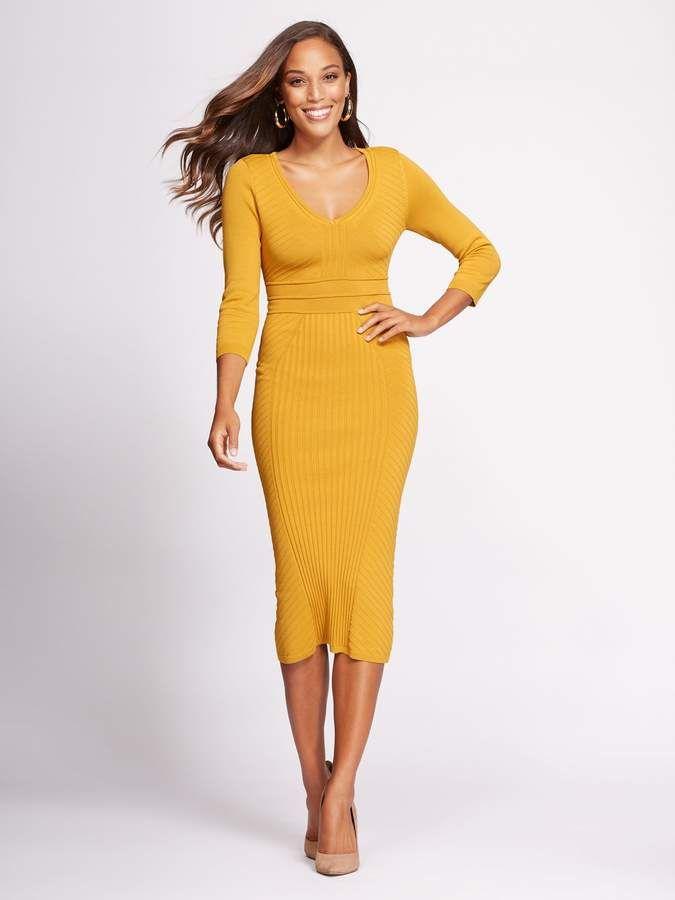 ec8e376d620 New York   Company Gabrielle Union Collection - V-Neck Sweater Dress ...