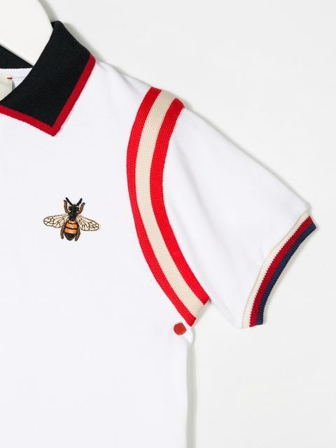 9be378476 Loved for its lavish Italian styling, Gucci Kids is the go-to label for the  next fashion-forward generation. This white stretch cotton bee embroidered  polo ...