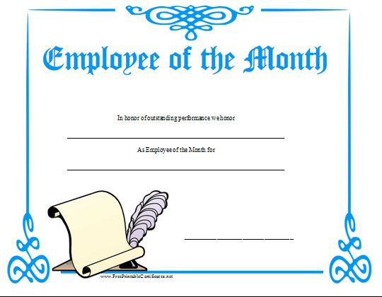 an employee of the month certificate with a blue border and a scroll and quill pen design  free