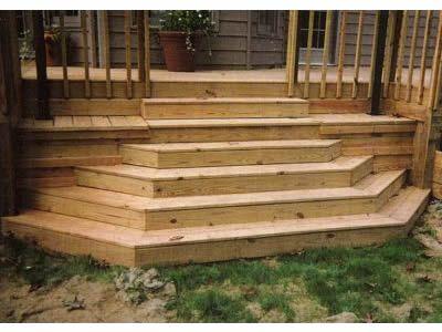 Half hexagon stairs outdoor oasis pinterest decking for Hexagon deck plans