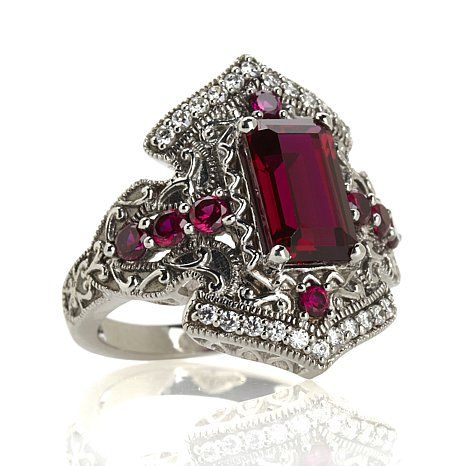 Xavier 2.96ct Absolute™ and Created Ruby Sterling Silver Turkish-Inspired Ring at HSN.com