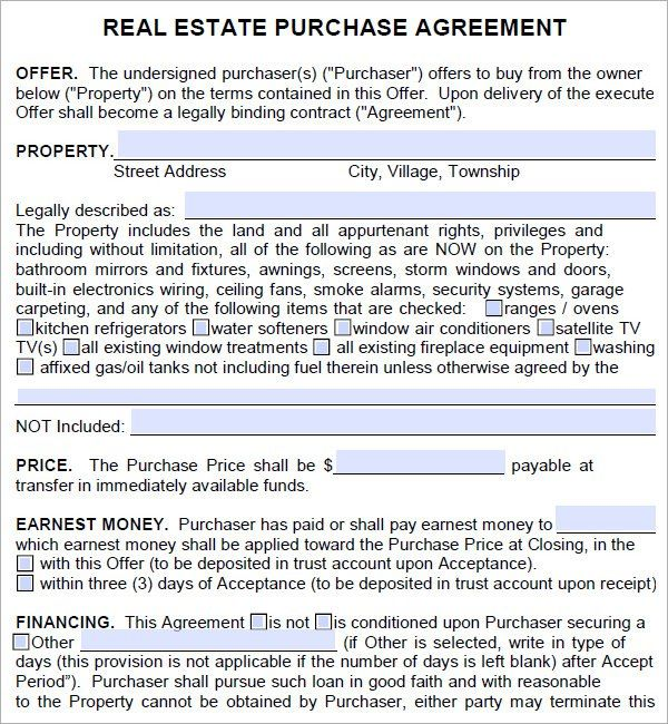 Real Estate Purchase Agreement Template Real Estate Contract Purchase Agreement Contract Template