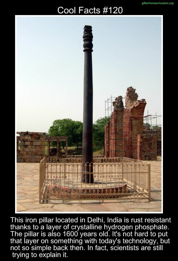 Cool facts #120   http://en.wikipedia.org/wiki/Iron_pillar_of_Delhi