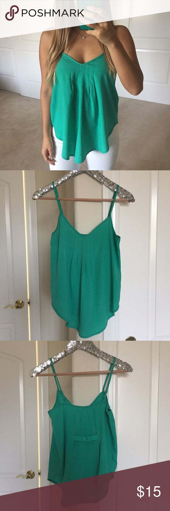 Teal Green Cami Top Purchased from a boutique! Perfect for a day to night look. Straps are adjustable. Tops