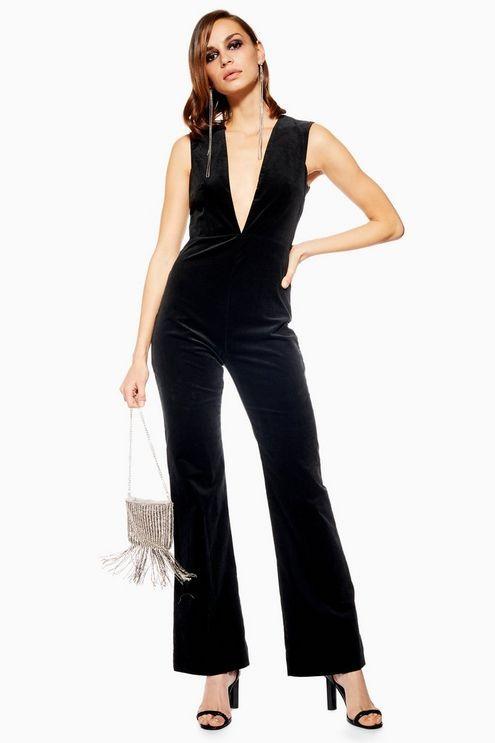 9e4f8bd98d Womens Velvet Plunge Jumpsuit - Black