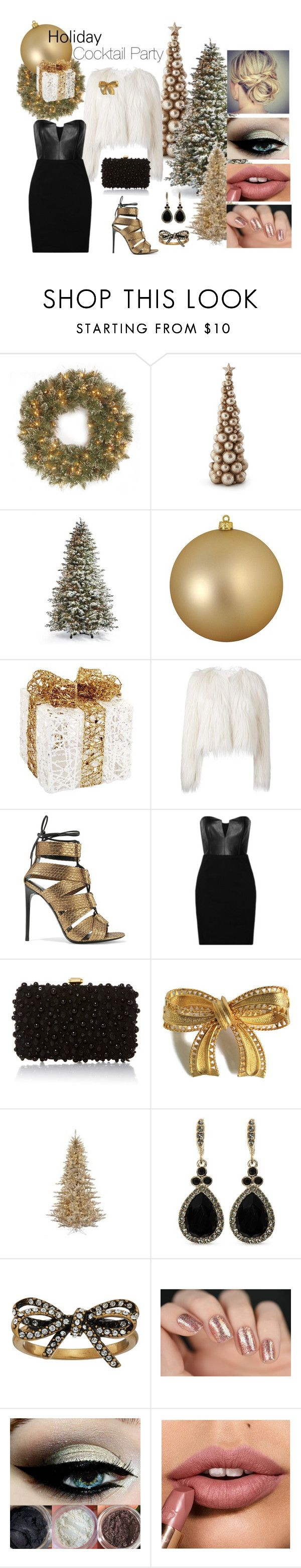 """Holiday Cocktail Party"" by cmrno ❤ liked on Polyvore featuring National Tree Company, Frontgate, Ball, Melrose International, Giamba, Tom Ford, Mason by Michelle Mason, Elie Saab, Givenchy and Marc Jacobs"