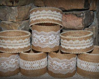 Venta 12 al precio de 10 tarro de masón mangas arpillera encaje envuelve Shabby rústica boda partido ducha decoraciones centro de mesa