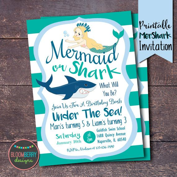 Sharks and Mermaids Party Invitation Mermaid by BloomberryDesigns