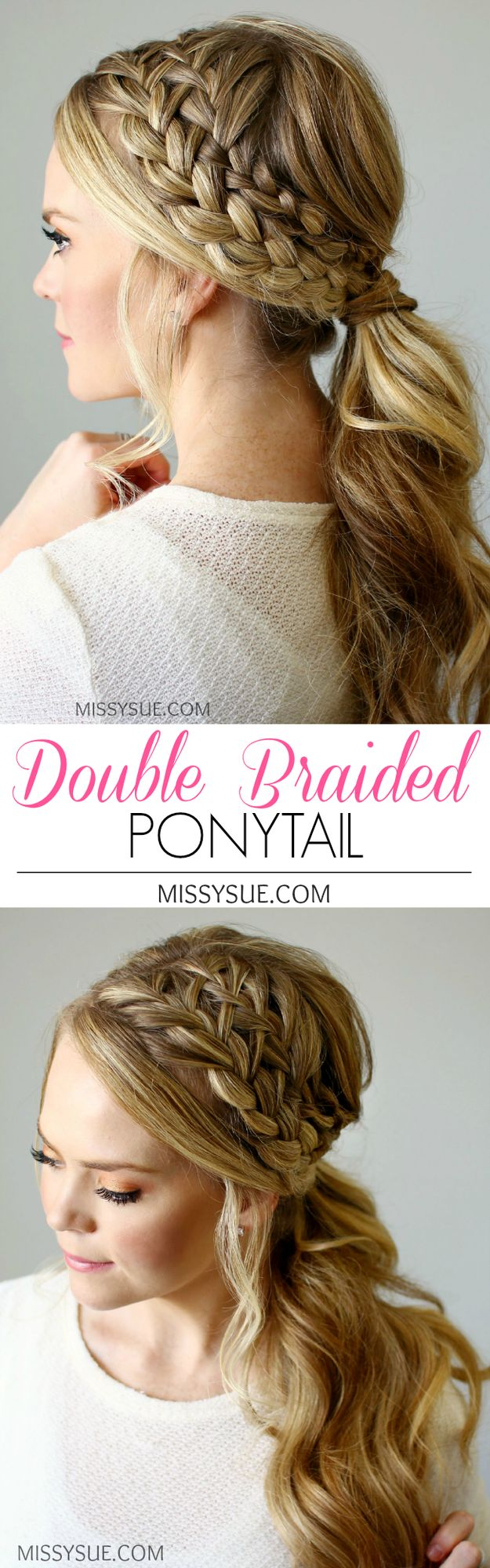 This double braided ponytail looks tricky and intricate but when you break it down it is surprisingly simple. The technique behind this look is one I've featured before in several other tutorials and