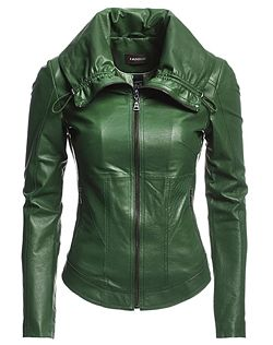 This would look good on Autumn :) Emerald green, leather jacket