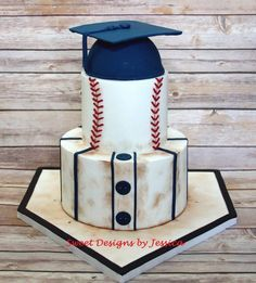 Baseball themed graduation cake