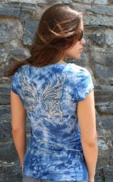 Blue Tee with Crystal Butterfly on Back