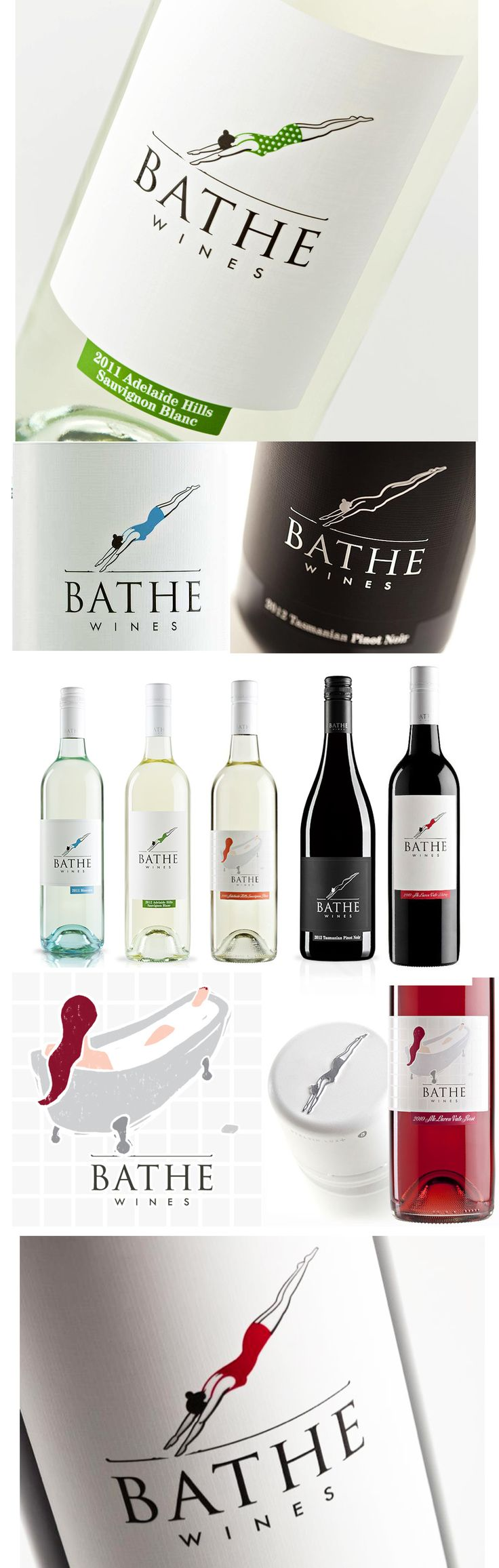 Bathe Wines Labels from over the years. From in a tub, to diving in a swimsuit to diving naked. Designed by Fuller.