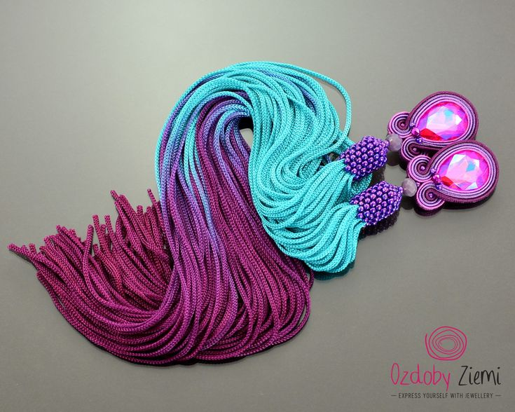Pink Purple Tassel Earrings Pelangi long turquoise pink soutache earrings extra long blue purple fringe earrings violet tassel jewelry boho by OzdobyZiemi on Etsy