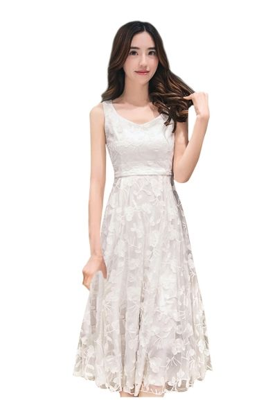 Women Floral Lace Print High Waist Sleeveless Slim Fit Dress - OASAP.com