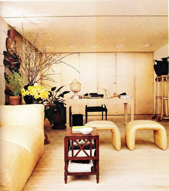 Angelo Donghia His Chic Modern Interiors Paired Deep Cushioned Sofas With Lacquered Walls And Metalic Touches