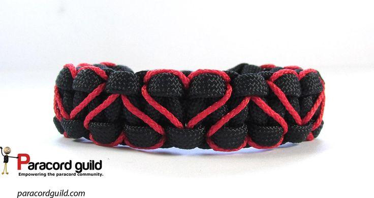 Heart stitched paracord bracelet tutorial.