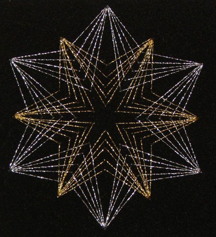 Fadengrafik-Stern in gold und silber