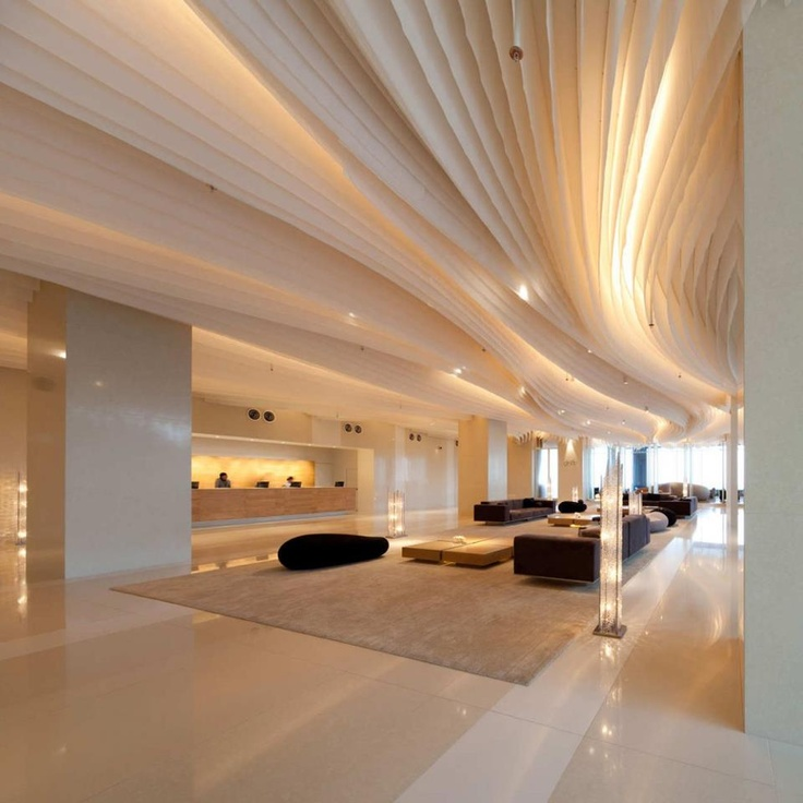 A Sea Of Swaying And Rippling Fabric Fins Adorn The Ceiling Of The Hilton  Pattaya Hotel In Thailand. Interior Design And Architecture By Department  Of ...