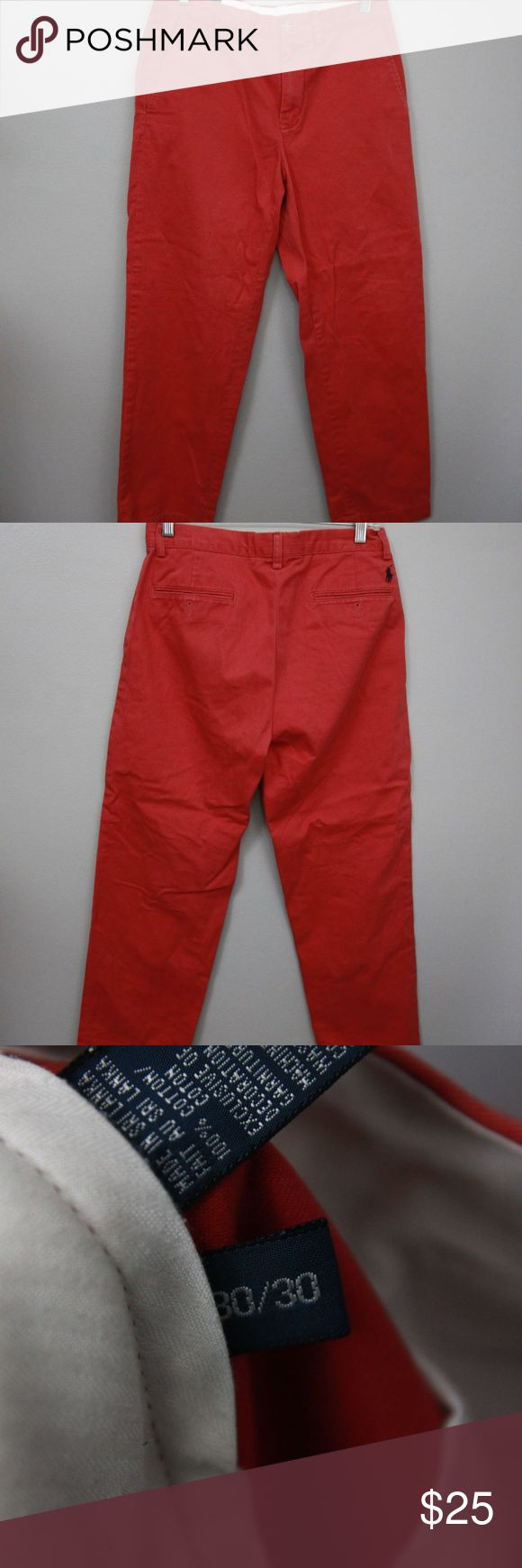 Polo Red Pants Mens Sz 30x30 Preston Ralph Lauren men's casual pants in size 30x30. 100% cotton, machine wash. Preston fit. Color is more red/pink.   Measurements Waist 32 inches Inseam 30 inches  inventory 59-117 Polo by Ralph Lauren Pants