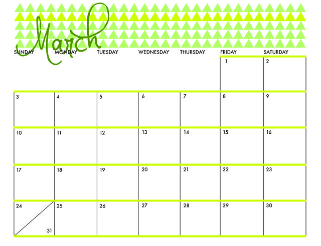Free Printable for March 2013 Calendar! She does one for every month of the year! From justdawnelle.com / #freeprintable #2013calendar