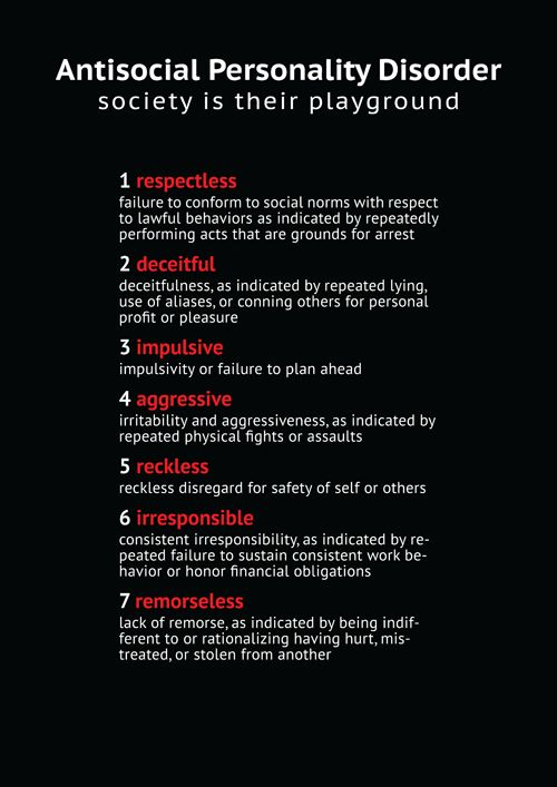Antisocial Personality Disorder, also know as Psychopaths and Sociopaths.