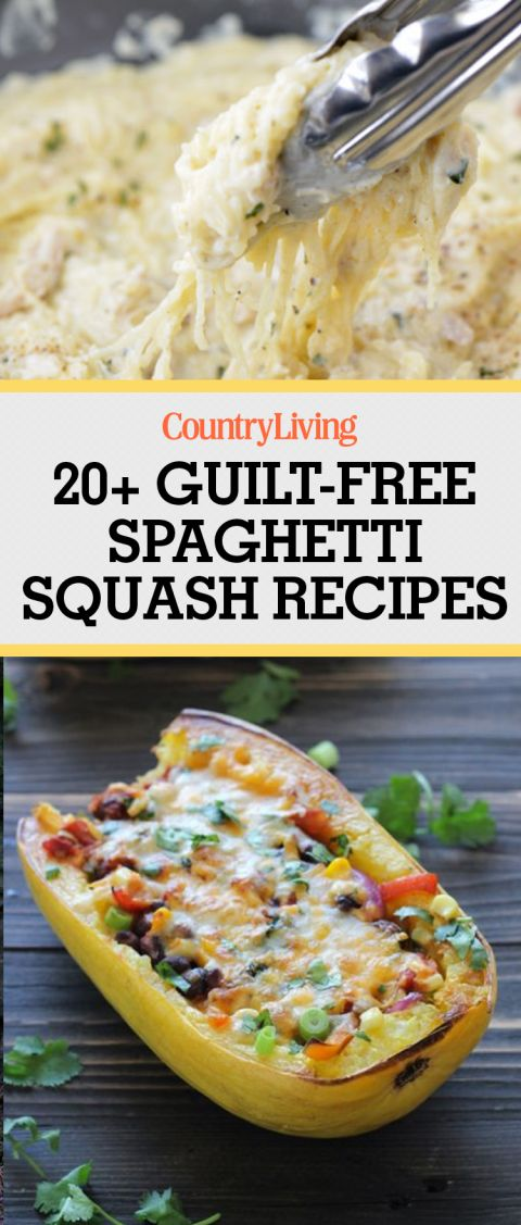 Save these guilt-free spaghetti squash recipes for later! Don't forget to follow Country Living on Pinterest for more great recipes.
