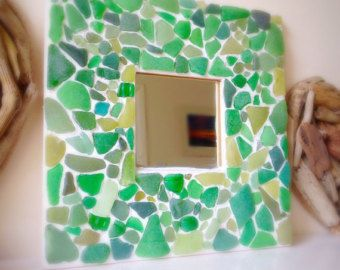 Large Round Sea Glass Mirror Isle of Wight Beach by ShoreThingsIOW