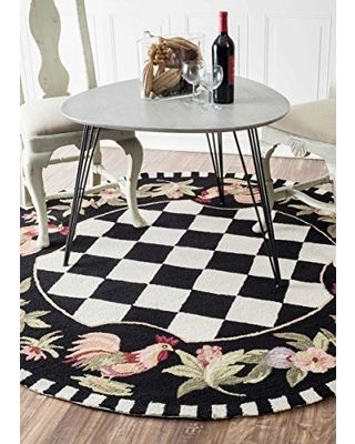 On Sale! nuLOOM Contemporary Floral Rooster Chess Black Area Rugs, 8' Round, Black