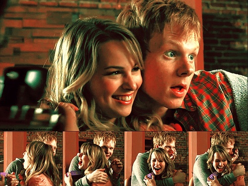 Wen And Olivia (Lemonade Mouth)--- loved their awkward/cute interactions, like when he comes up behind her and she runs into the locker, or when he tells her he likes it when she smiles :) Don't judge me...