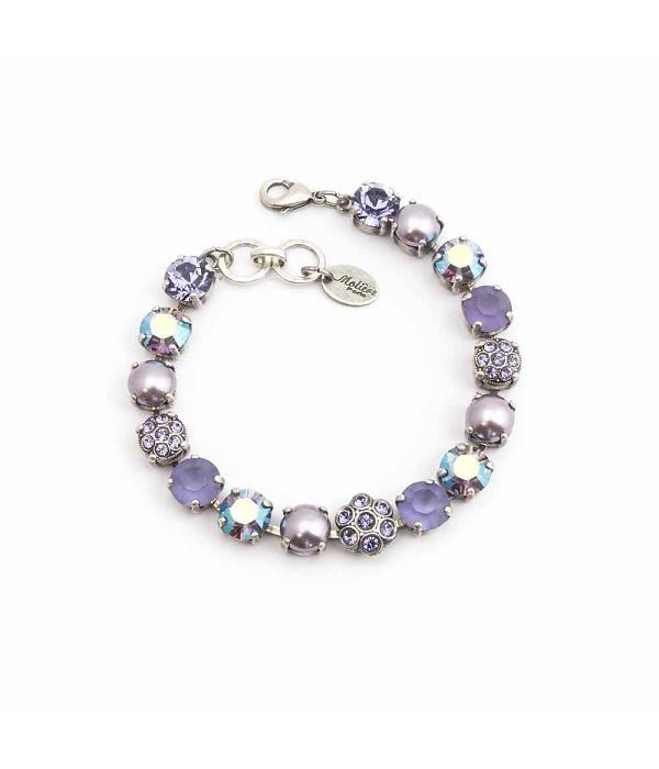 Moliere Paris Armband met Swarovski kristallen en parels in lila tinten