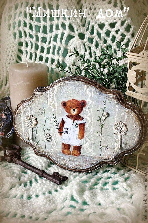 """Купить Вешалка """"Мишкин Дом"""" из коллекции FunHouse - серый, вешалка, вешалка для ключей, вешалка в прихожую"""