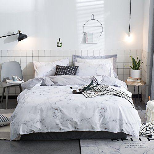 Macohome Luxury Marble Cotton Duvet Cover Set Modern King White